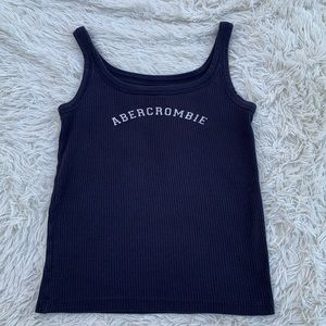 ABERCROMBIE & FITCH NAVY BLUE RIBBED TANK CROP TOP